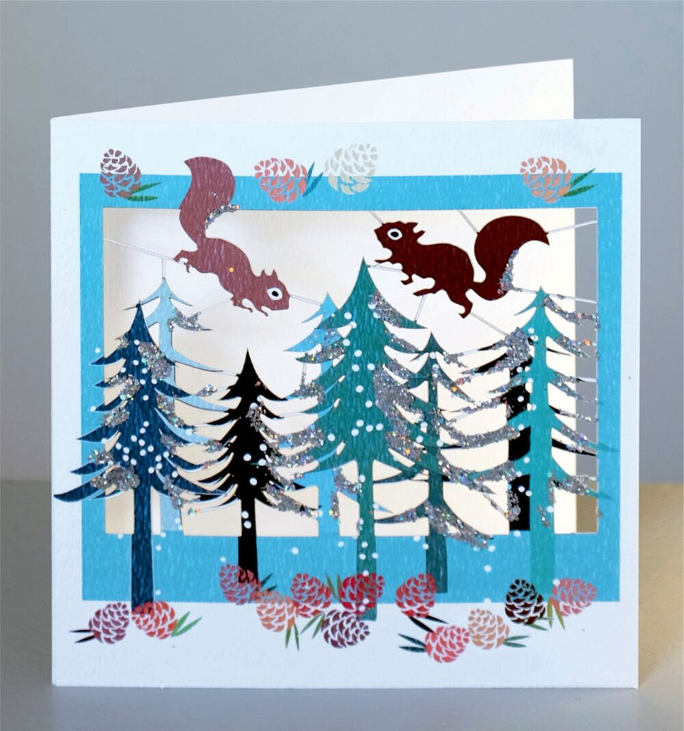 XPM35 Squirrels and trees holiday card