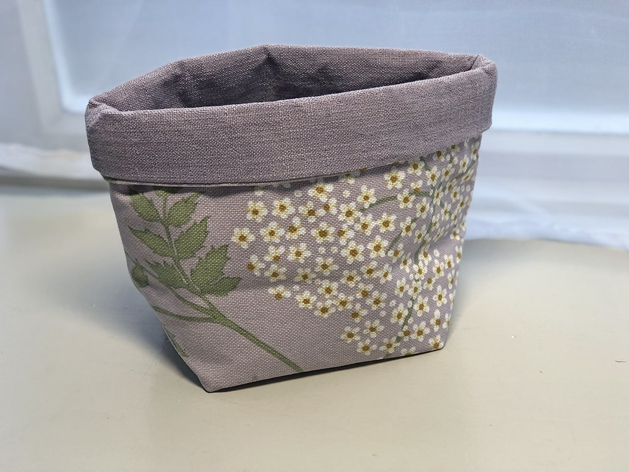 Fabric Basket - Purple & Green Floral