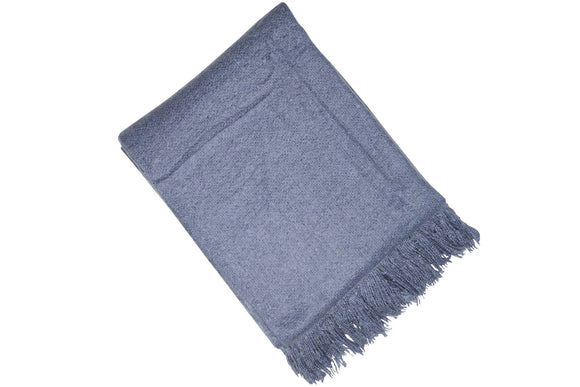 DENIM FAUX MOHAIR THROW