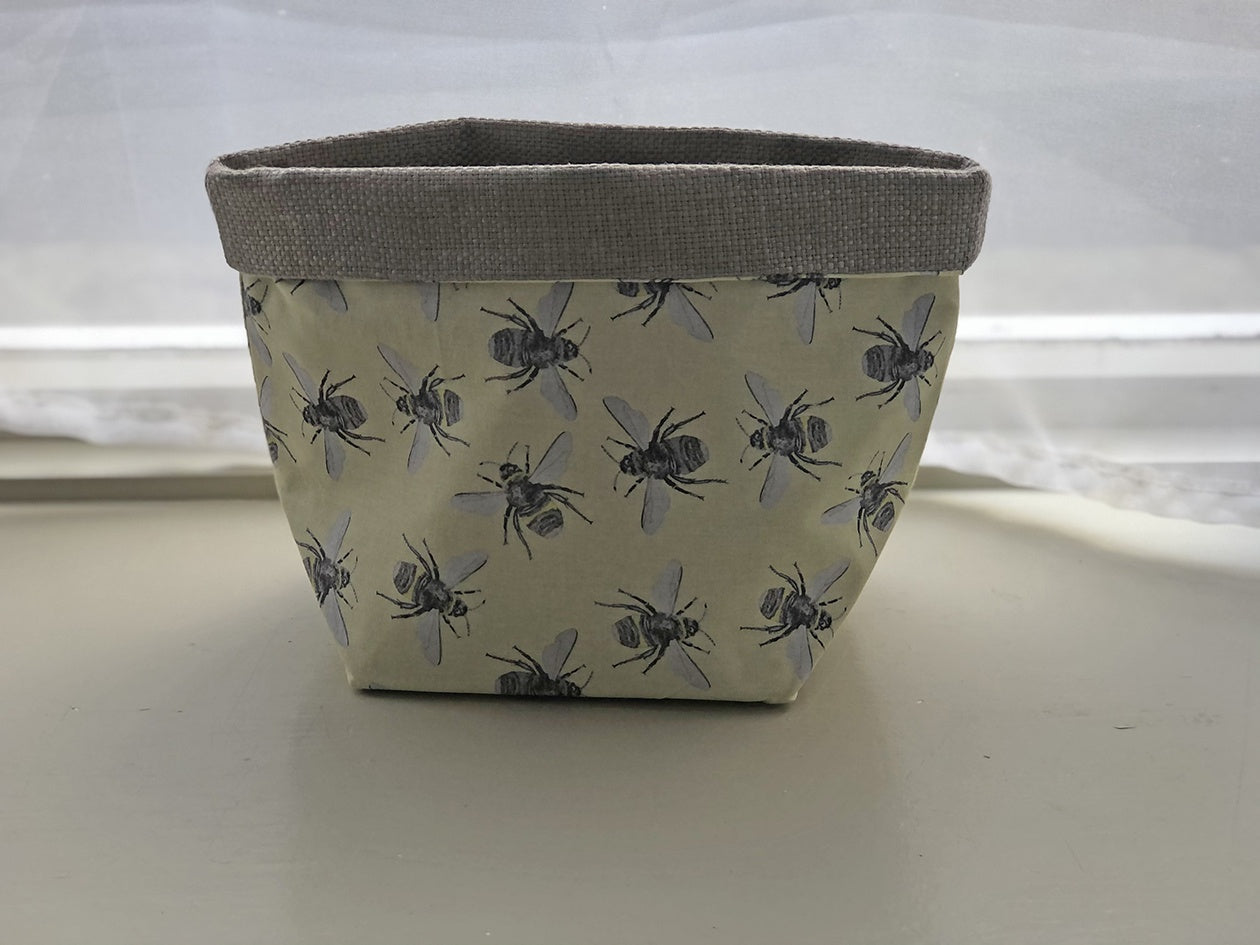 Fabric Basket - Bees & Gold