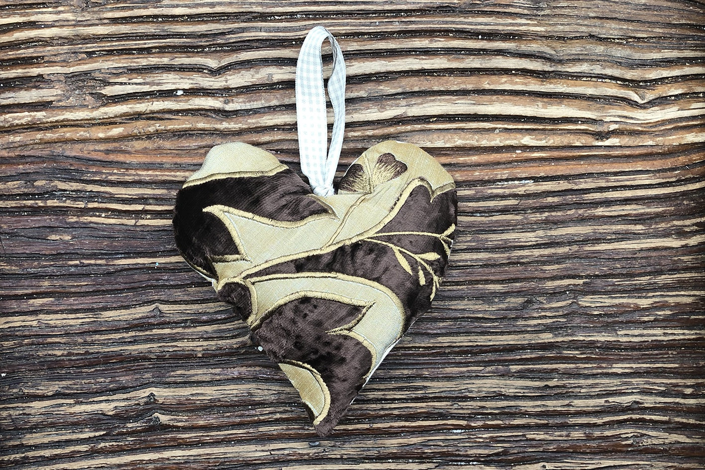 Handmade Lavender Heart - Brown & Gold Leaf