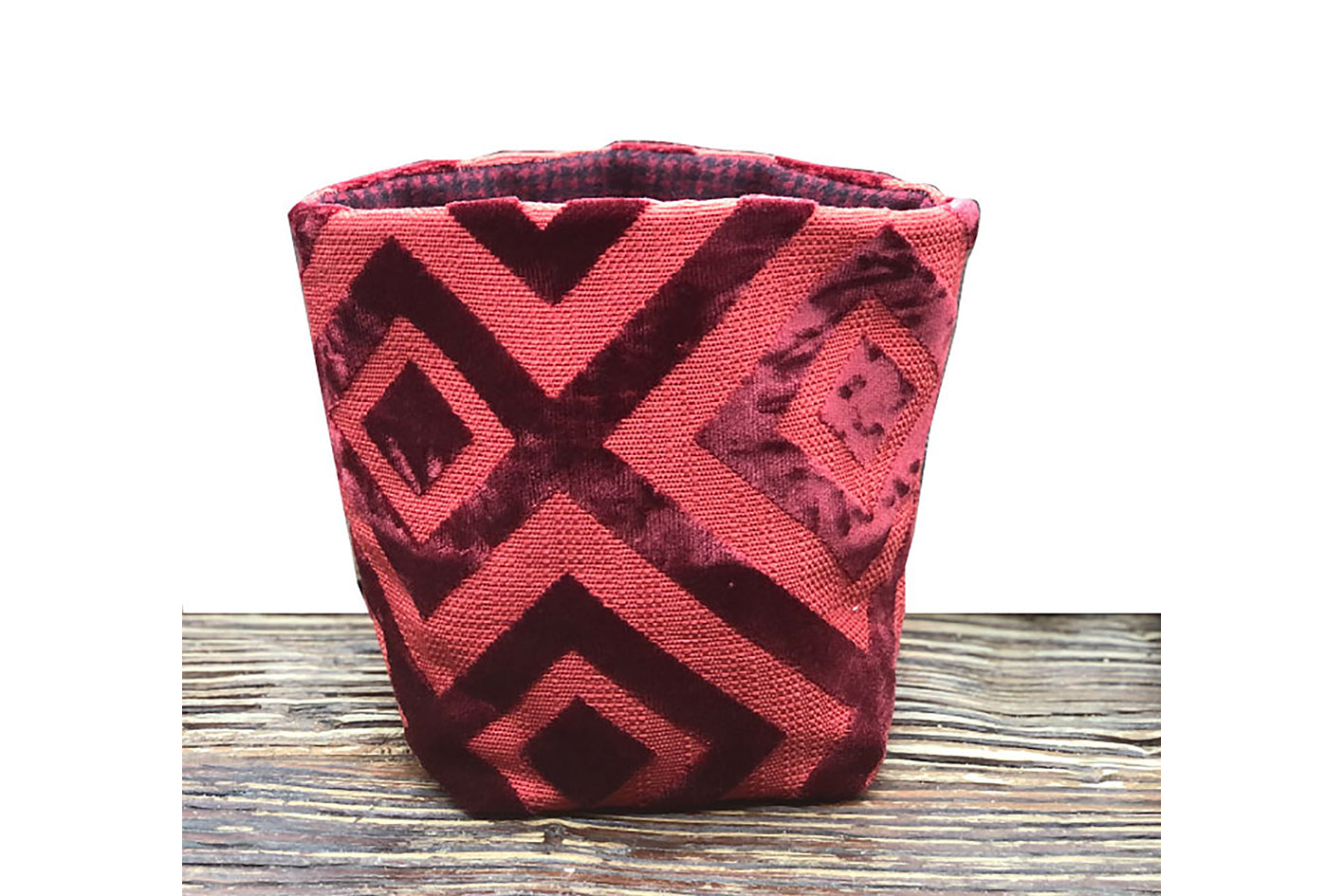 Handmade Fabric Basket - Red Diamonds
