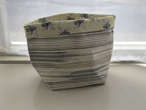 Fabric Basket - Stripes & Bees