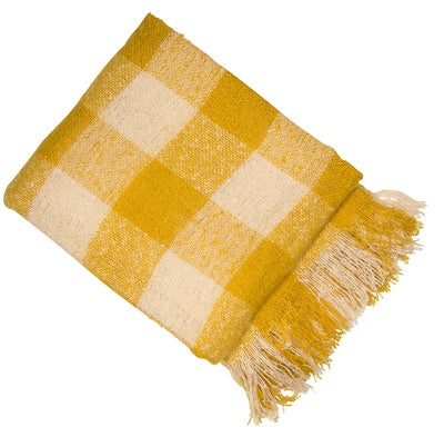 CHECK MUSTARD FAUX MOHAIR