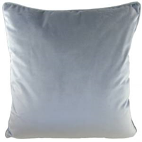 PIPED LIGHT GREY ROYAL VELVET CUSHION