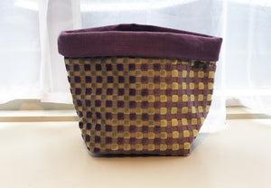 Fabric Basket - Purple & Green Squares