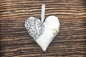 Handmade Lavender Heart - Yellow Leaf