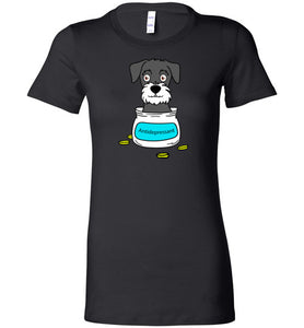 Antidepressant Schnauzer Premium Fitted Lady T-shirt