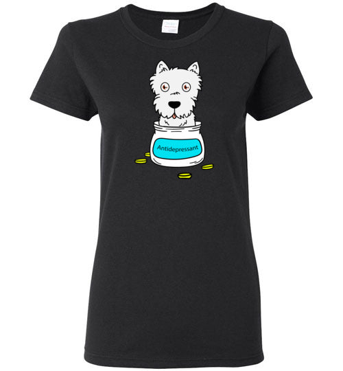 Antidepressant Westie Classic Lady T-shirt