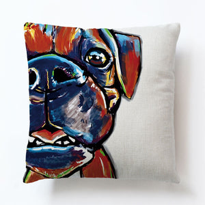 Rainbow Boxer Dog Pillow Case