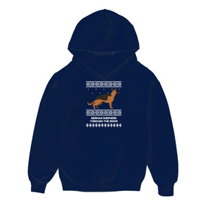 German Shepherd Through The Snow - Kids Hoodie