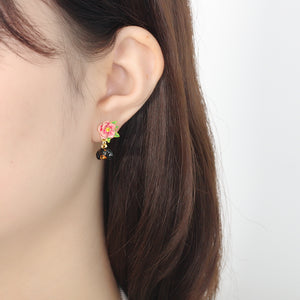 Dachshund And Flower Earrings