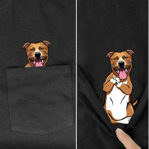 Schnauzer Dog In Pocket T-Shirt