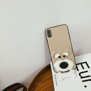 Miniature Schnauzer Pendant Leather Phone iPhone Case