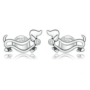 925 Sterling Silver Dachshund Earrings 1