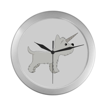Silver Westie Unicorn Wall Clock