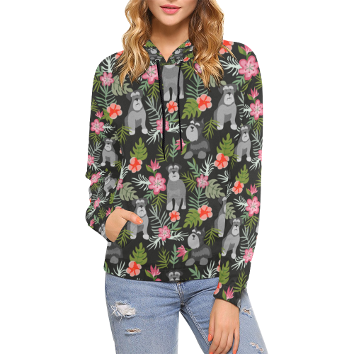 Schnauzer Floral  All Over Print Hoodie