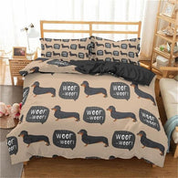 Woof Woof Brown Dachshund Bedding Set