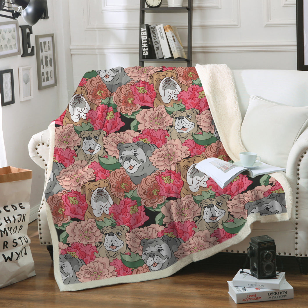 Bulldog & Flowers Throw Blanket