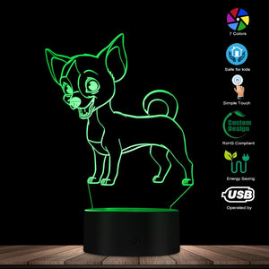 Smiley Chihuahua 3D LED Lamp