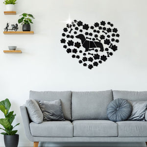 Dachshund Paws Mirror Effect Wall Stickers