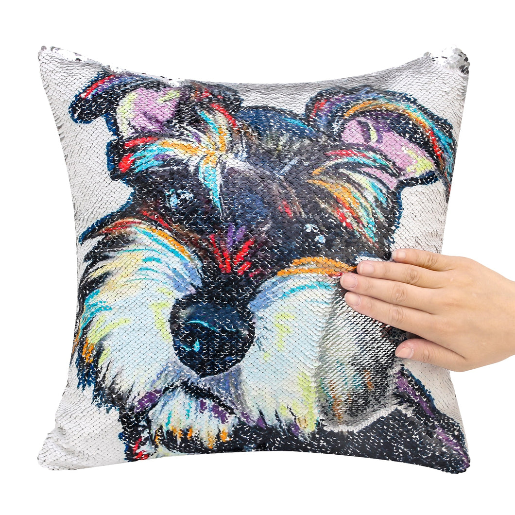 Miniature Schnauzer Sequin Pillow Case Cover