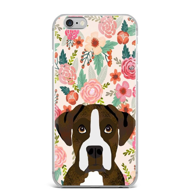 Boxer Dog And Flowers iPhone Case