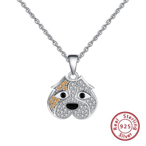 English Bulldog Face 925 Sterling Silver Pendant Necklace
