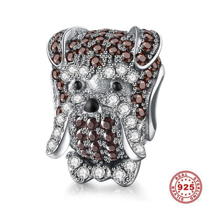 925 Sterling Silver Schnauzer Charm With Zircon-charm-Ploocy-Ploocy