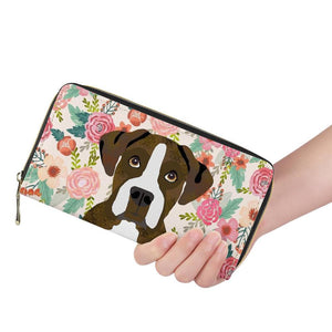 Boxer Dog And Flowers Wallet