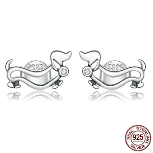 925 Sterling Silver Dachshund Earrings
