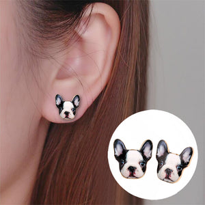 Tiny Frenchie Stud Earrings