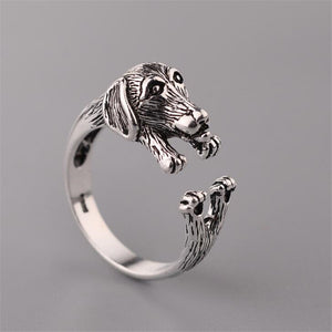 100% 925 Sterling Silver Cuddle Dachshund Ring