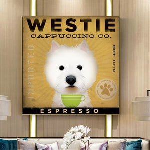 Westie Cappuccino Co. Canvas Poster