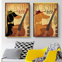 Jazz Bar Dachshund Canvas Poster