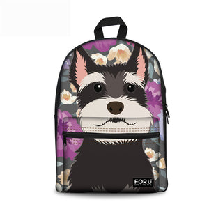 Schnauzer Flower Backpacks