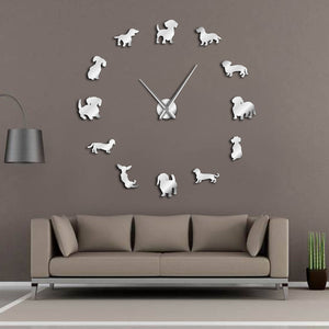 Big DIY Dachshund Acrylic Mirror Wall Clock