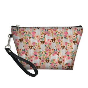 Jack Russell & Flowers Cosmetic Bag