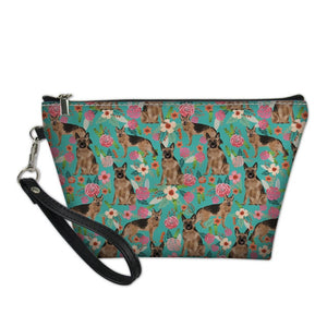 German Shepherd & Flowers Cosmetic Bag