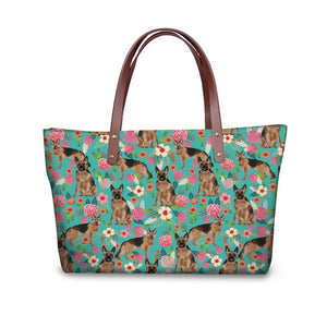 German Shepherd & Flowers Shopper Bag