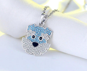 925 Sterling Silver Blue Schnauzer Pendant Necklace