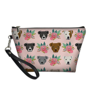 Pink Flowers Staffy Cosmetic Bag