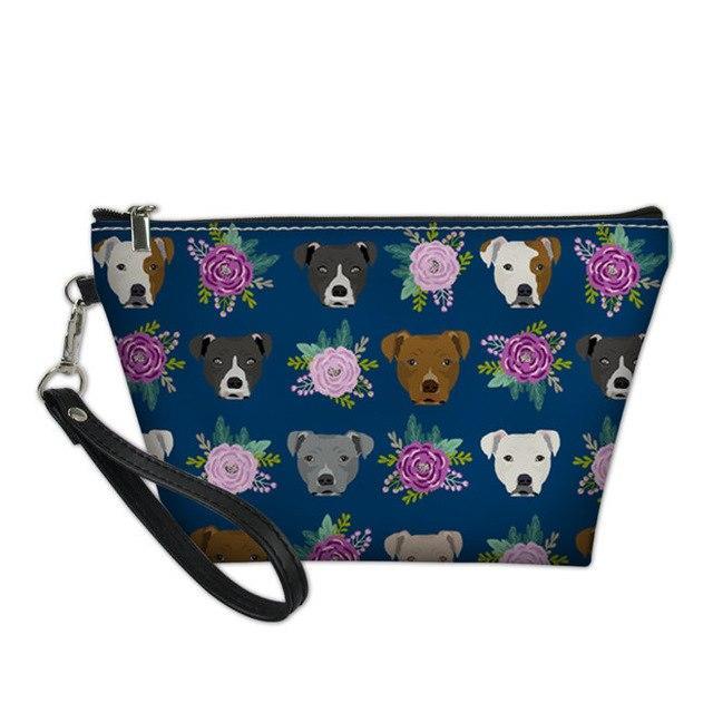 Blue Flowers Staffy Cosmetic Bag