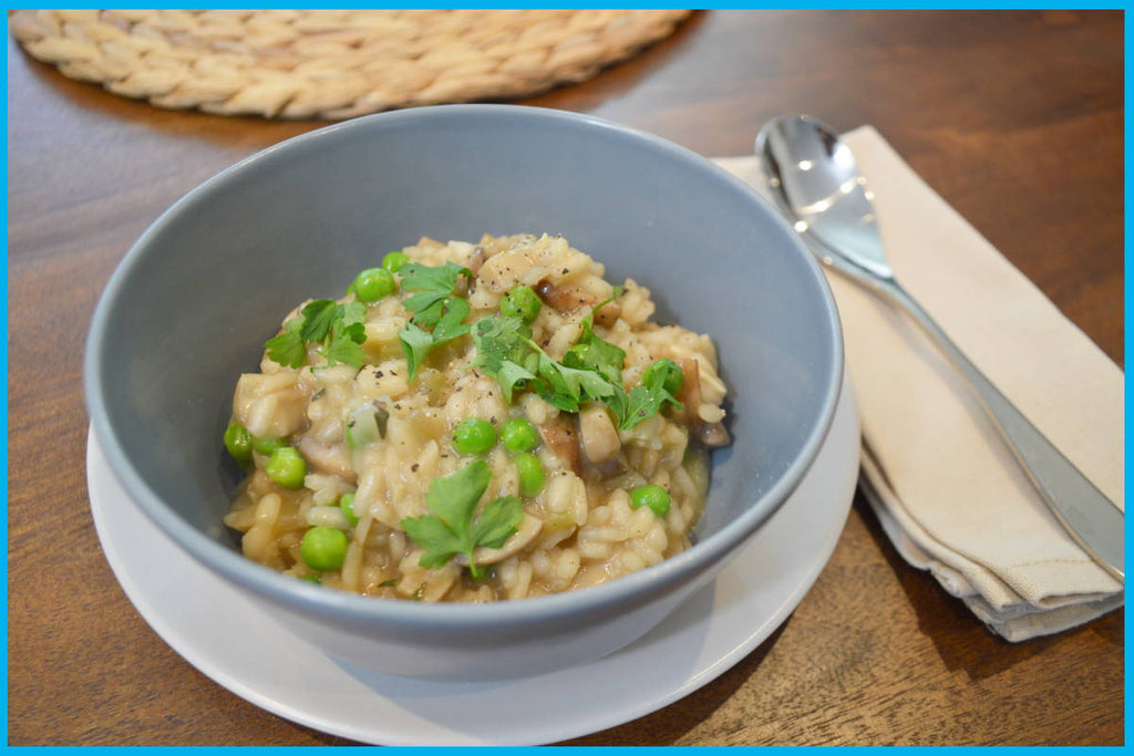 Bone broth mushroom risotto
