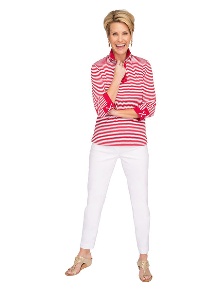 Shimmer Stripe Knit Polo