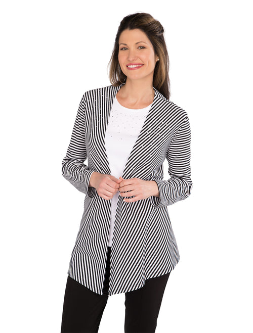 Shimmer Stripe Knit Cardigan