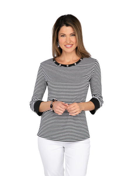 Shimmer Stripe Knit Top