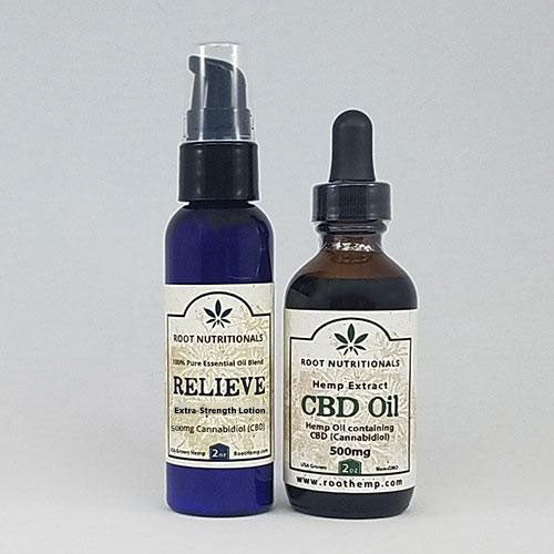 Combo - RELIEVE - Extra Strength - 2oz - 500mg CBD Lotion and 2oz - 500mg CBD Oil