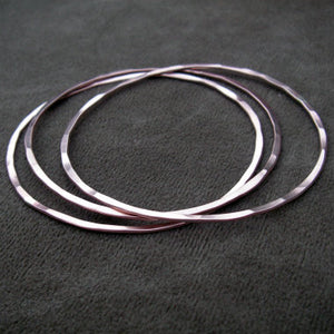 Flat Hammered Bangle Bracelet Set of 3