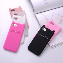 Cat Case For iPhone X, Plus, 8/7/6s/6, 5/5s/SE - Soft Silicone